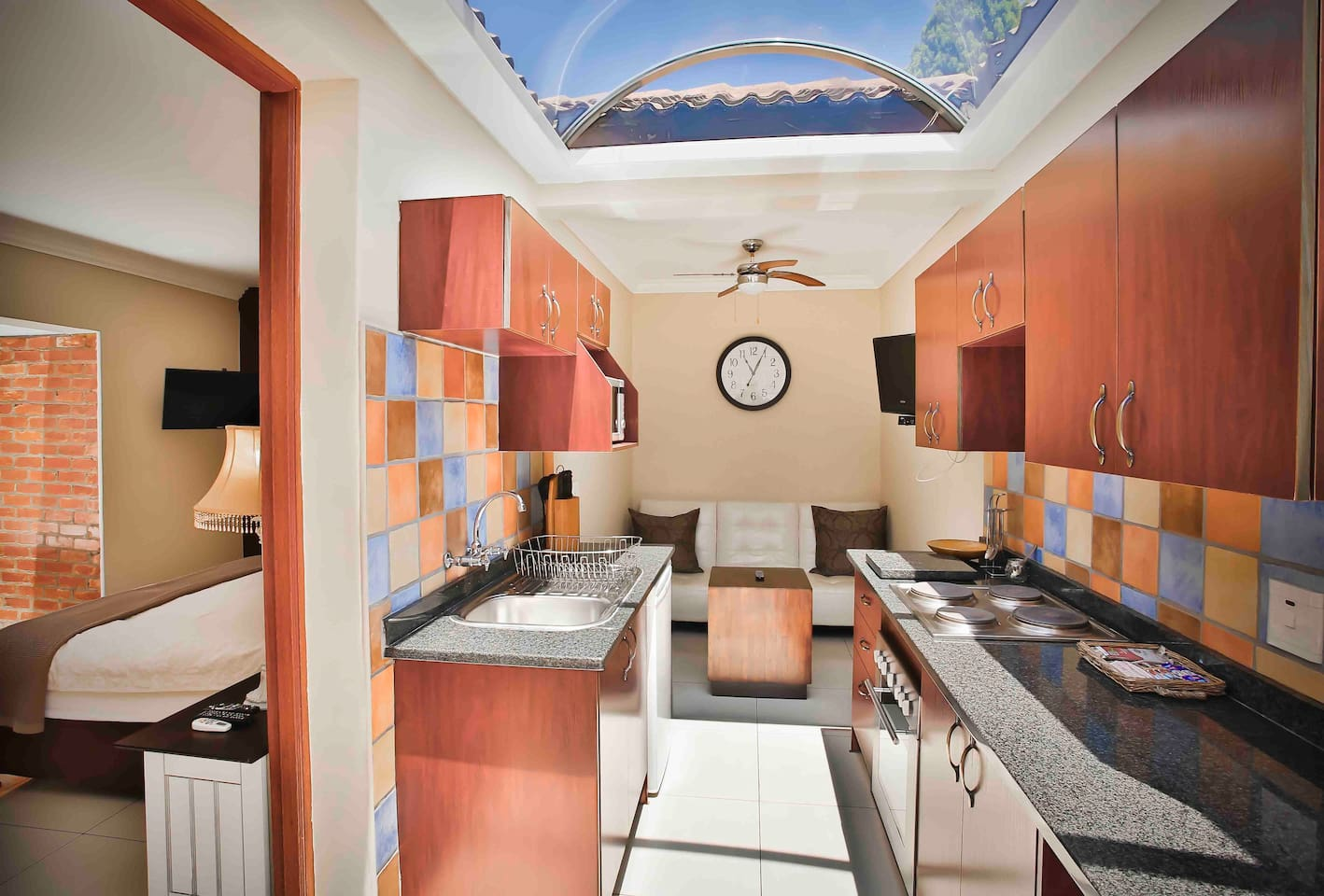 French Quarter has a fully equipped kitchen and lounge area with a glass roof