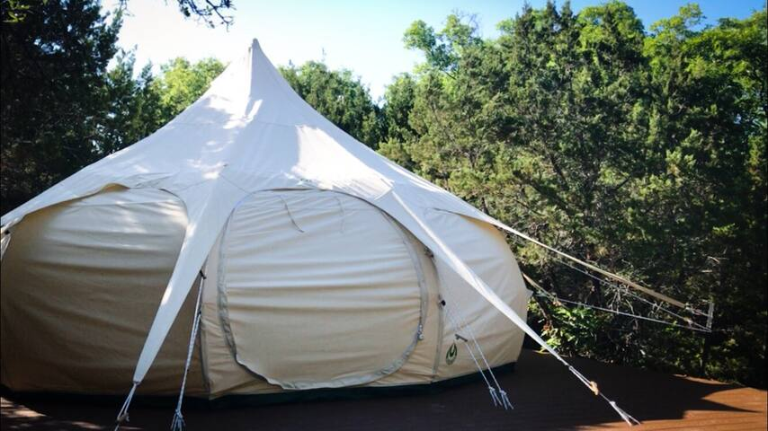 Tumbleweed tent - a 16 foot Lotus Belle Deluxe that is 10.5 feet tall in the center and has 200 square feet of space inside.