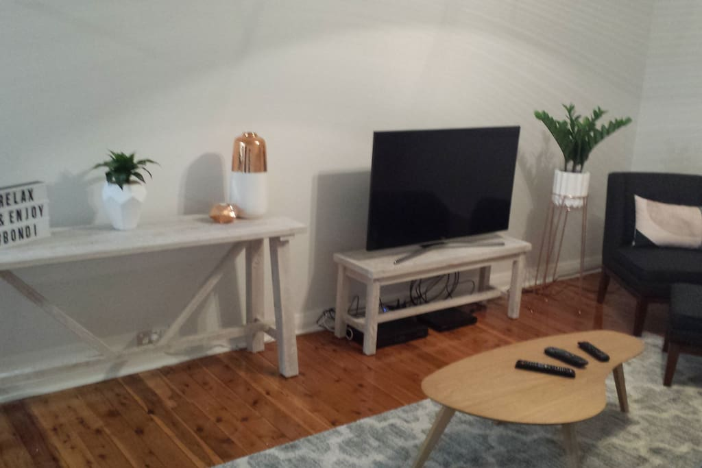 Large TV, including Foxtel and BluRay player, Complimentary wifi too.