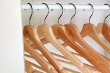 Hangers and shelves provided