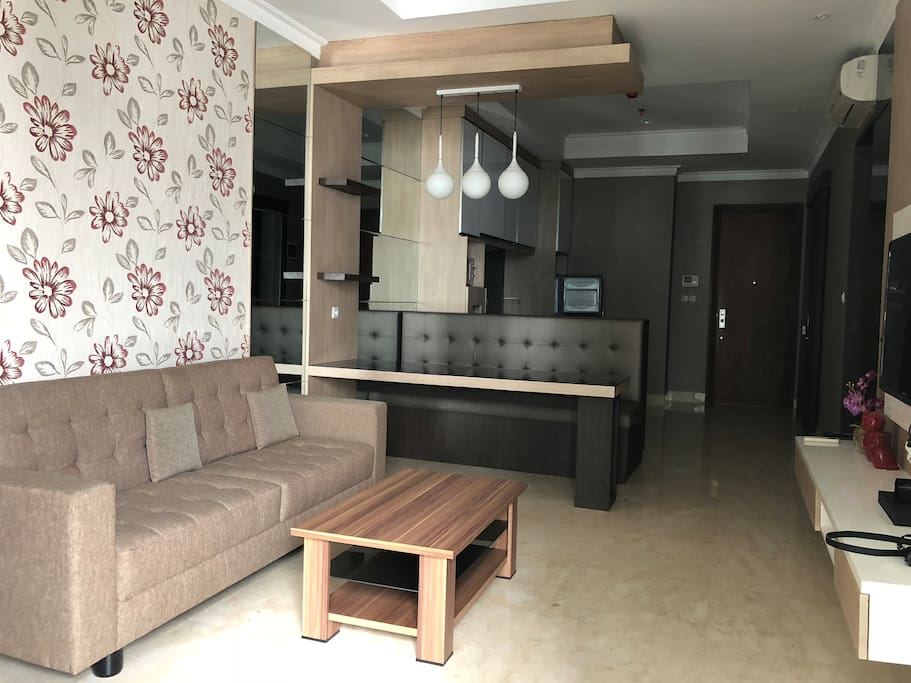 Living room with a couch and seating area