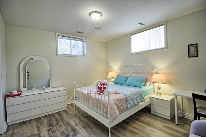 Bright BR at Basement W/Free Parking