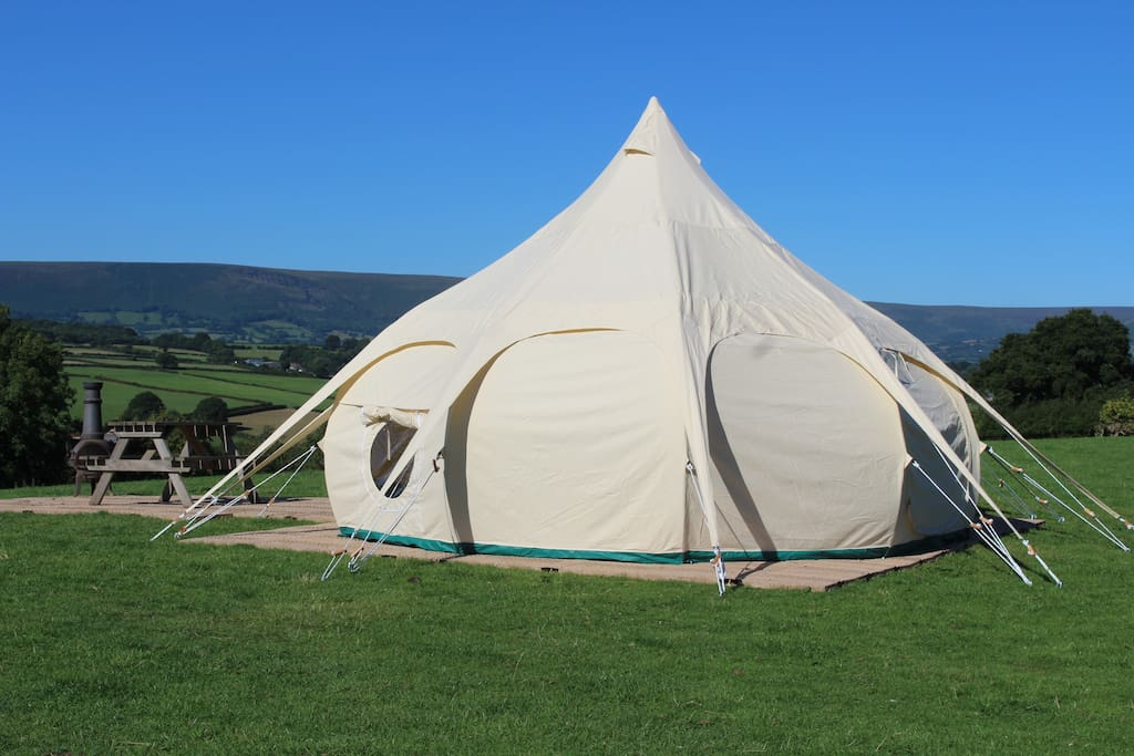 One of two deluxe lotus belle tents, sleeping 4/5.