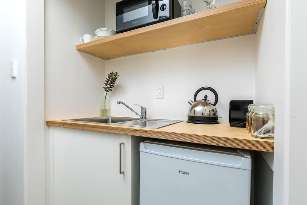 Kitchenette for bedroom one.