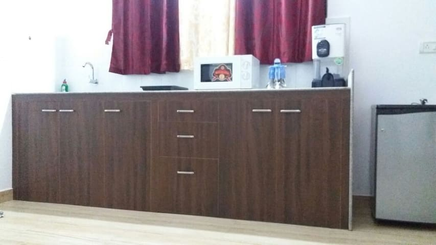 Kitchenette with Microwave, Induction Stove, Fridge, Water Filter and utensils provided in storage cabinet