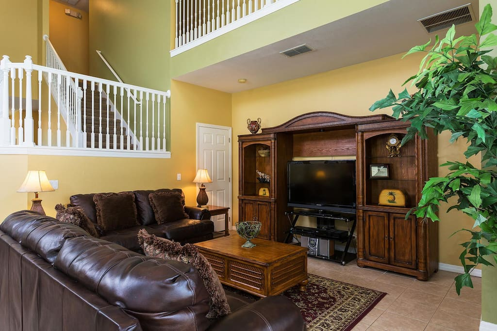 Spacious living area with 42-inch LCD TV, DVD/VCR combo and more