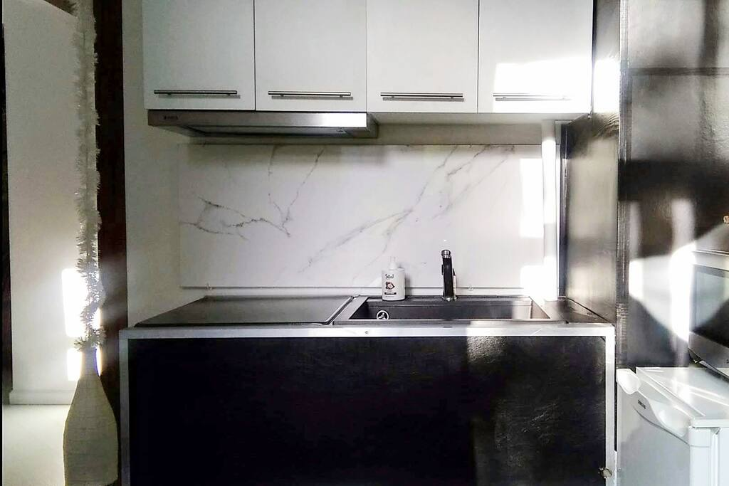 The kitchen has coffee makers, fridge, microwave, and an oven with two stoves (hidden under metal cover)