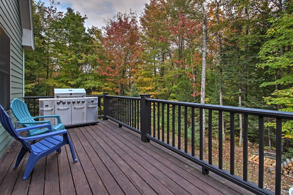 Relax on the private deck and admire the changing leaves.