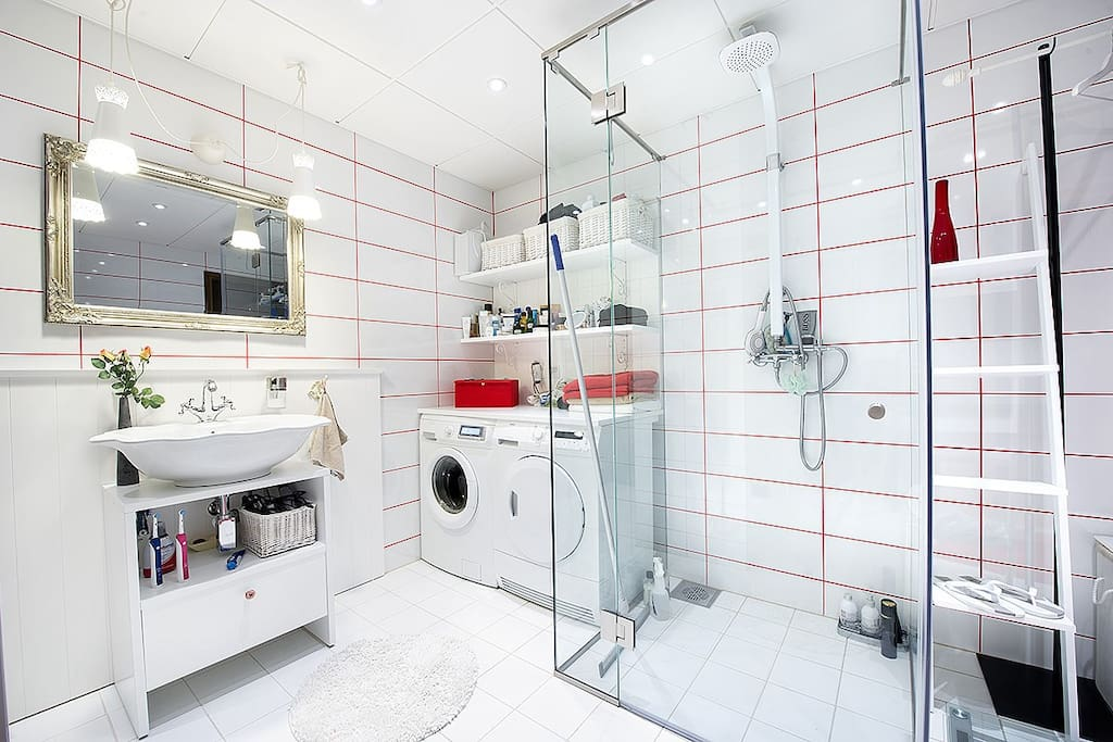 Master bathroom with a sauna