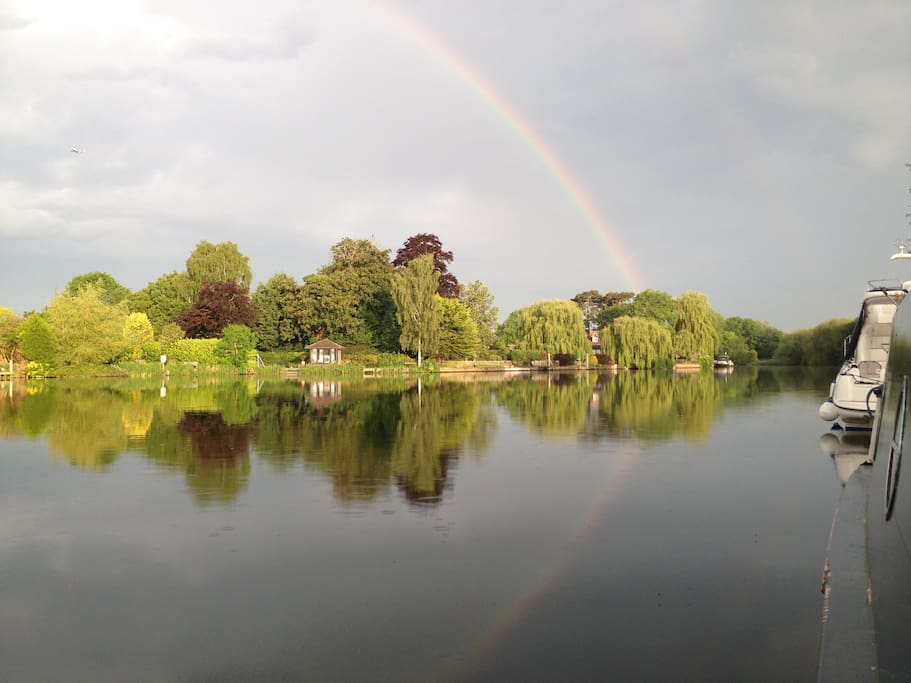 Reflections of a rainbow from PG Point one of our remote moorings.