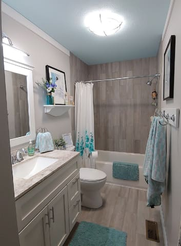Beautiful, newly renovated bath. Deep soaker tub if you like to bathe. It may be a shared bath ONLY if our 2nd room is also rented.