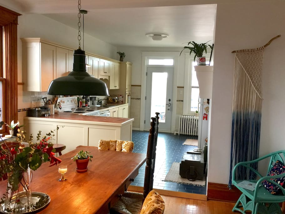 Large kitchen and dining room, + balcony.