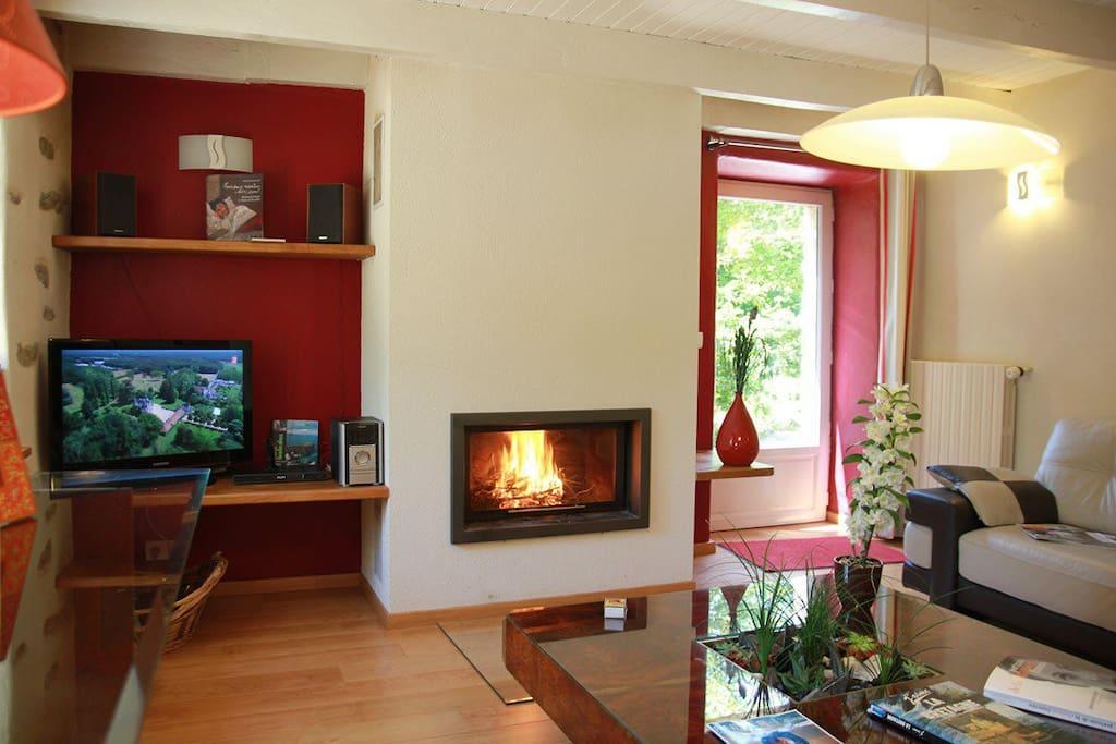 Vue du salon avec cheminée