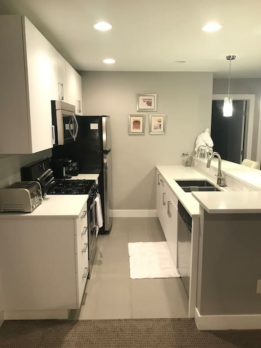 Fully stocked, modern kitchen with quartz counters, stainless appliances, microwave, dishwasher