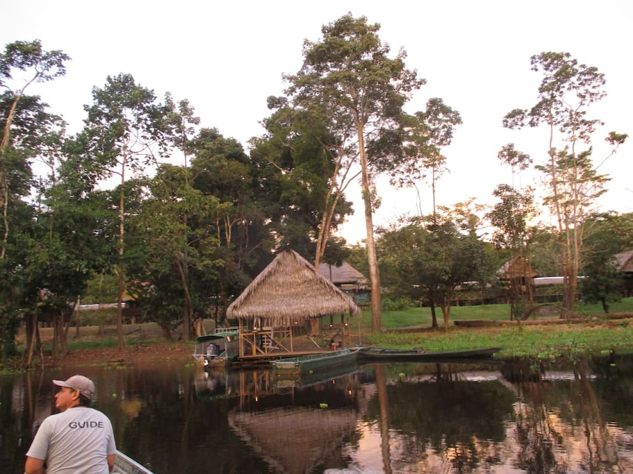 The lodge from the Yanayacu river at sunset