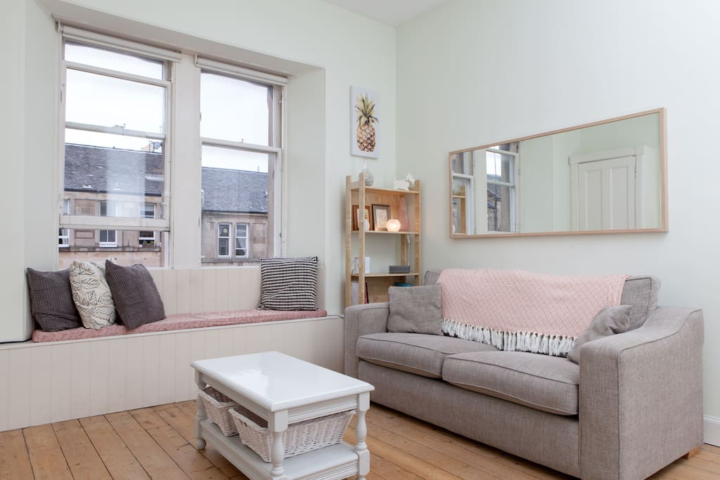 Cosy living room with window seat
