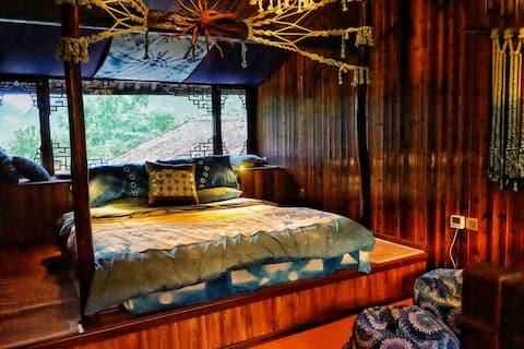 维岛自然农场,双层大床套房。山景露台,独立卫浴。