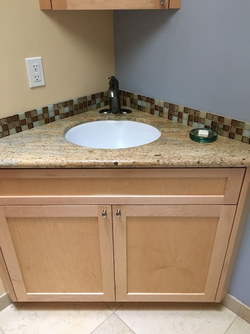 Stone counter in the bathroom