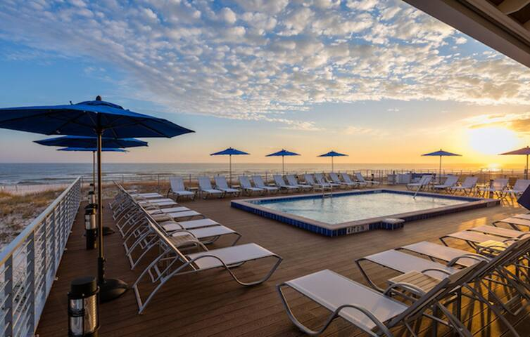 Private access to guest beach club right on the beautiful Gulf coast