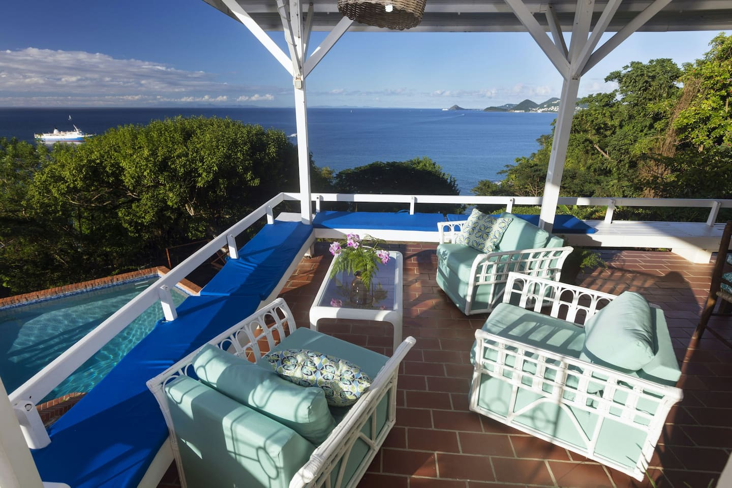 Spacious lower deck to relax and enjoy sunsets