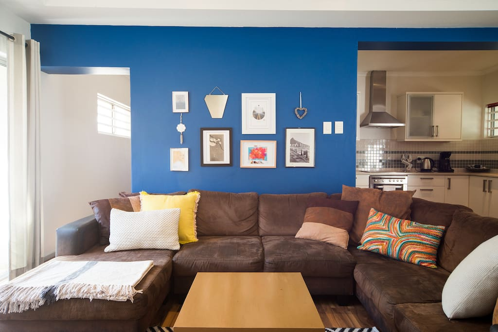 Open plan Lounge with comfy sectional sofa.