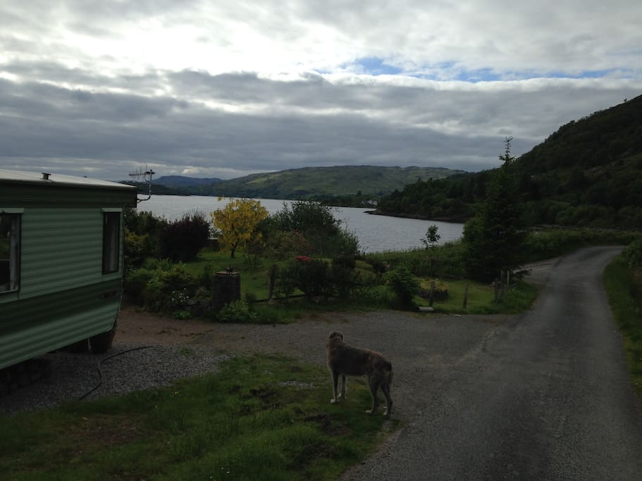 Location of the mobile home with the view over Loch Etive