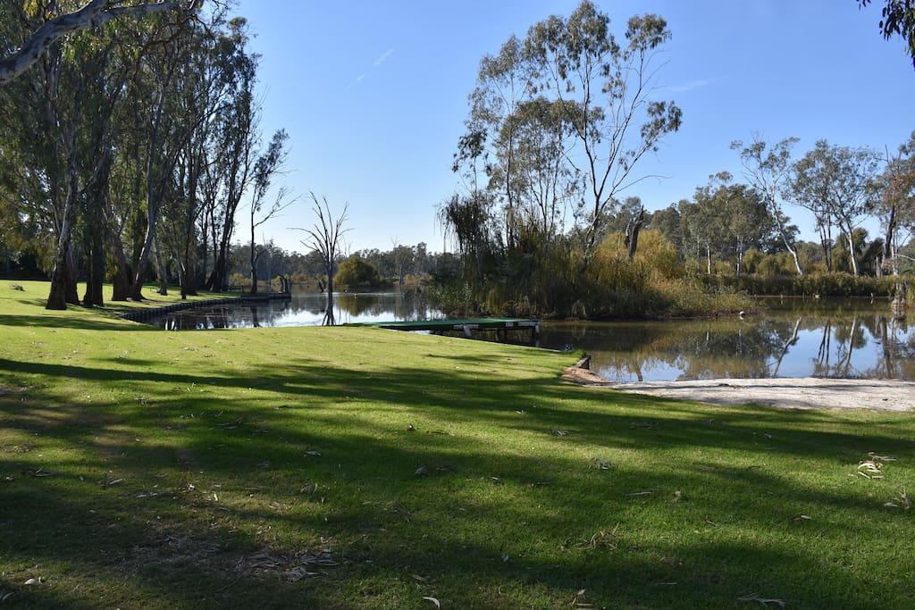 Large Waterfront Lawn and Sandbank