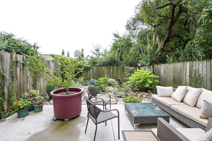 Relaxing patio seating in the private back garden