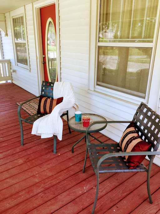 Enjoy your coffee on the front porch.