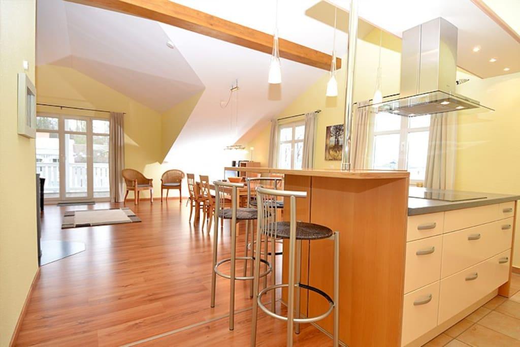 Wohnzimmer der Wohnung 10 in der Villa Seerose