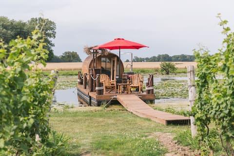 Wine Barrel Floating Cabin w/Panoramic Window