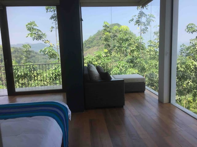 Bedroom with a panoramic view