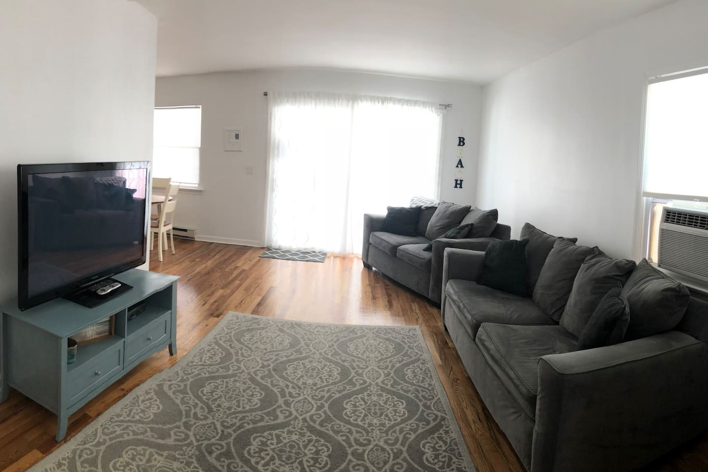Living room with pull out full size sofa bed