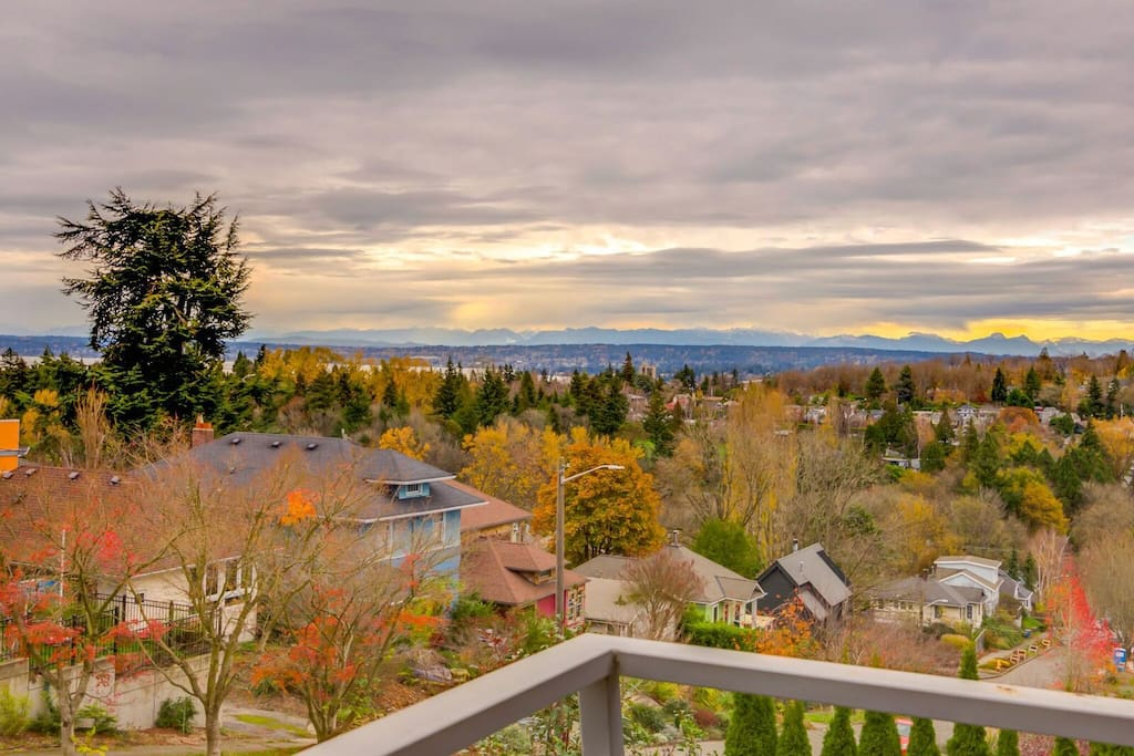 View from the master suite - Lake Washington, the Arboretum and the Cascade Mountain Range
