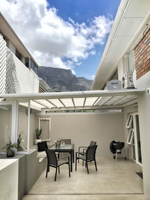 Outside area with a view of table mountain.