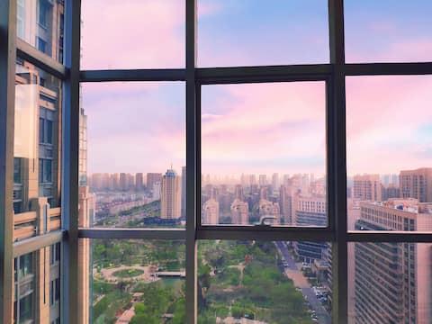 沐风民宿✔大学城/市政府/宝龙全景落地窗2218