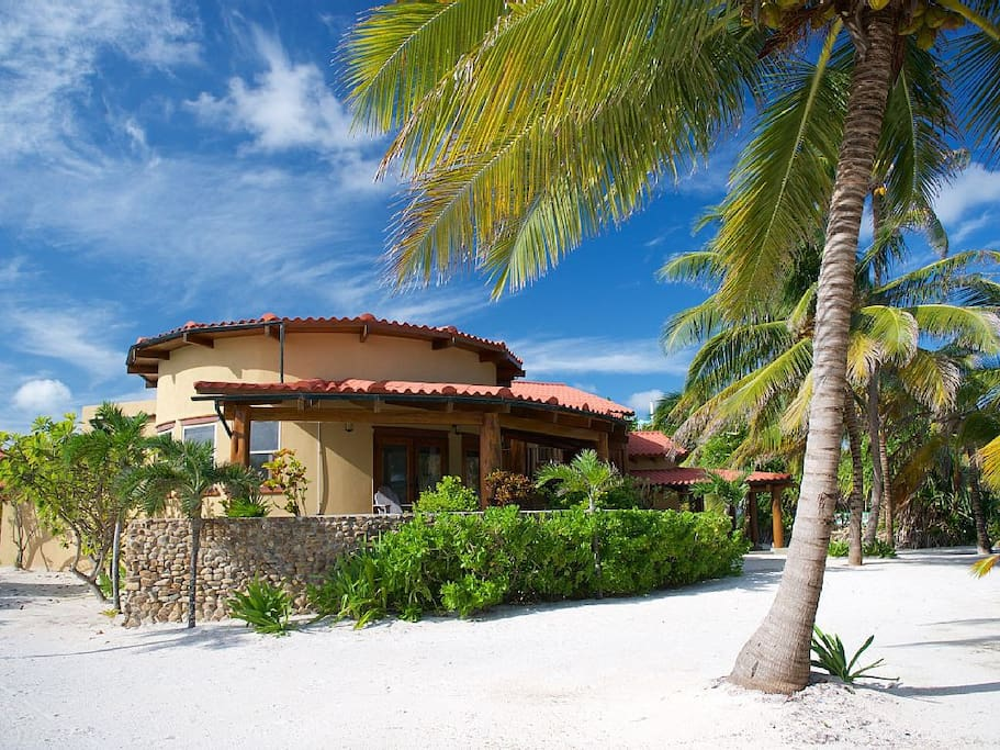 The view of our villa with your feet firmly planted in the Caribbean Sea.
