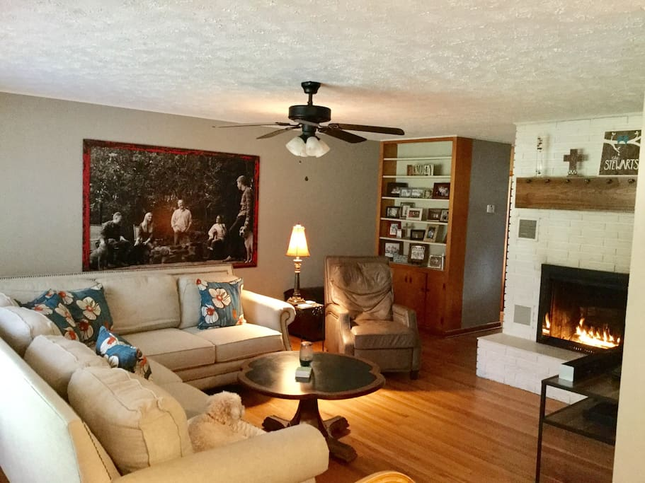 living room area with fire place. great for visiting, relaxing with a glass of wine!