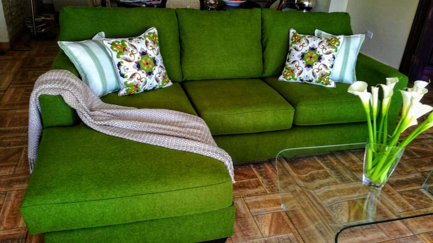 the idea of the sofa was, that the green colour should mirror the green nature when you look out of the large window in the living room