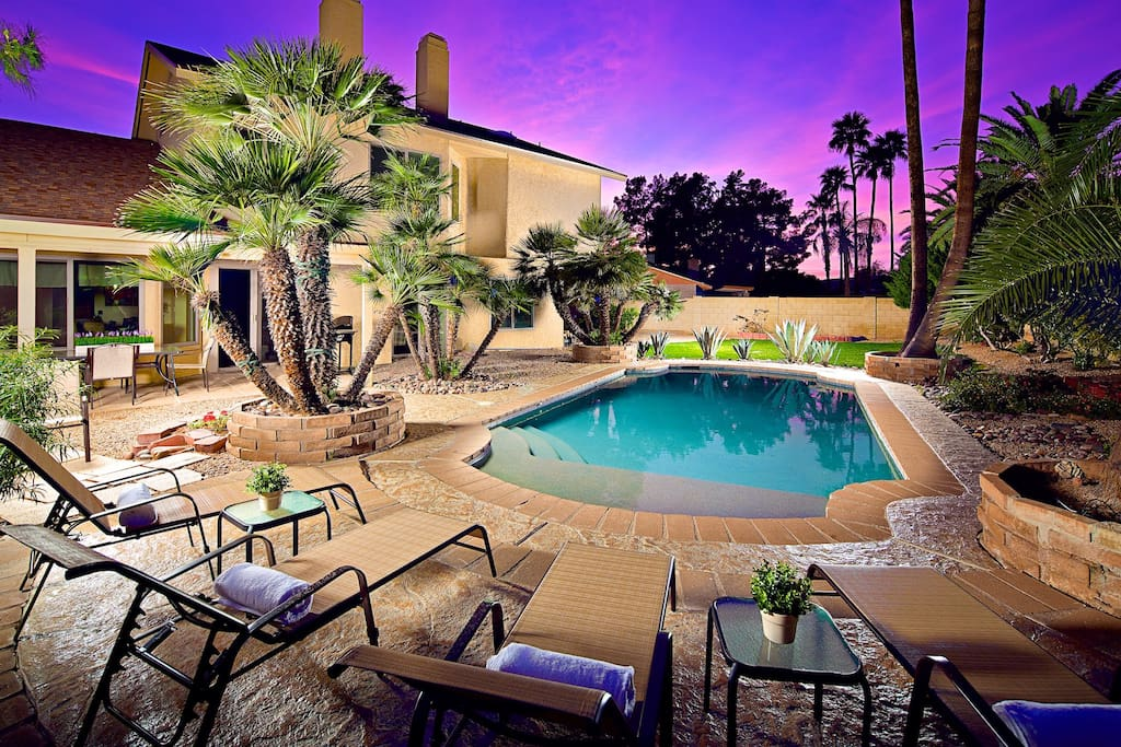 Relax and enjoy! Pool has a Baja feature, tons of mature palm trees, and more!