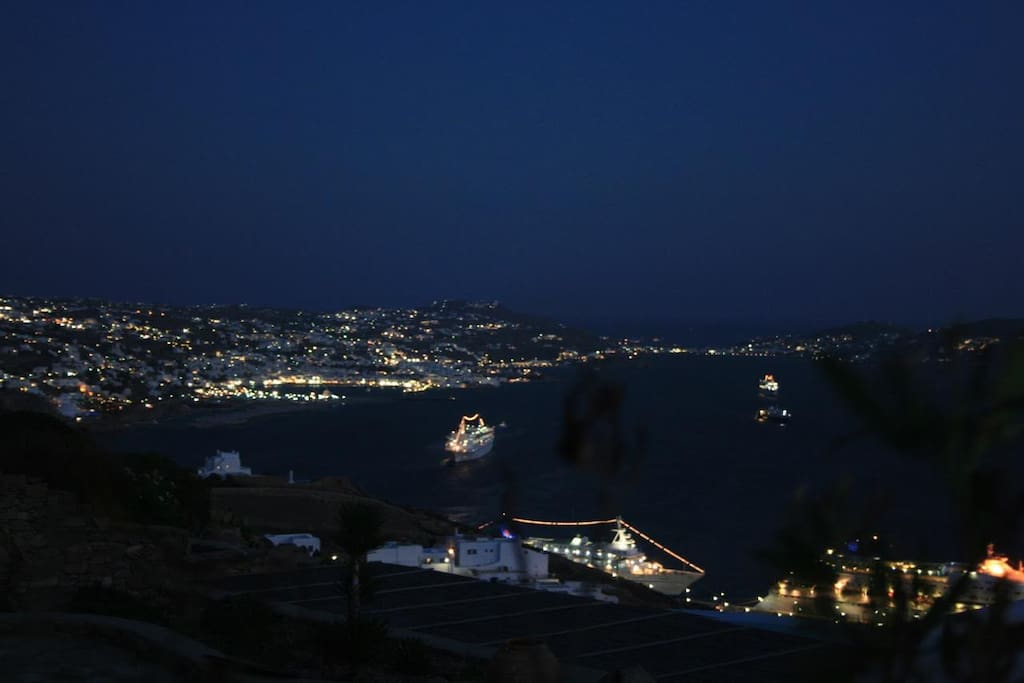Myconos town night view from the house