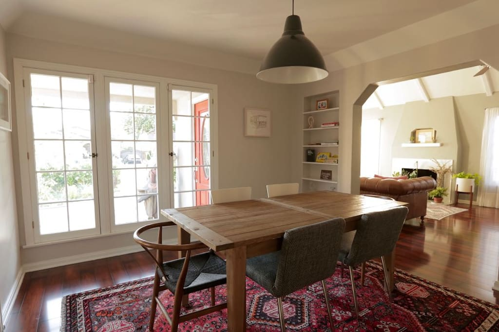 Sun soaked dining room, can also be perfect work space.