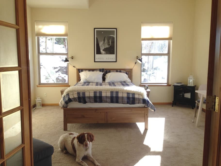 Bedroom with Guest house mascot, Lou