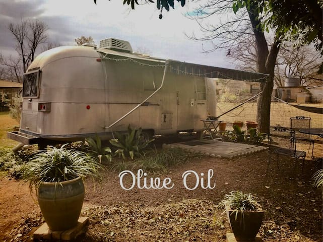 Vintage Airstream Olive Oil in Town