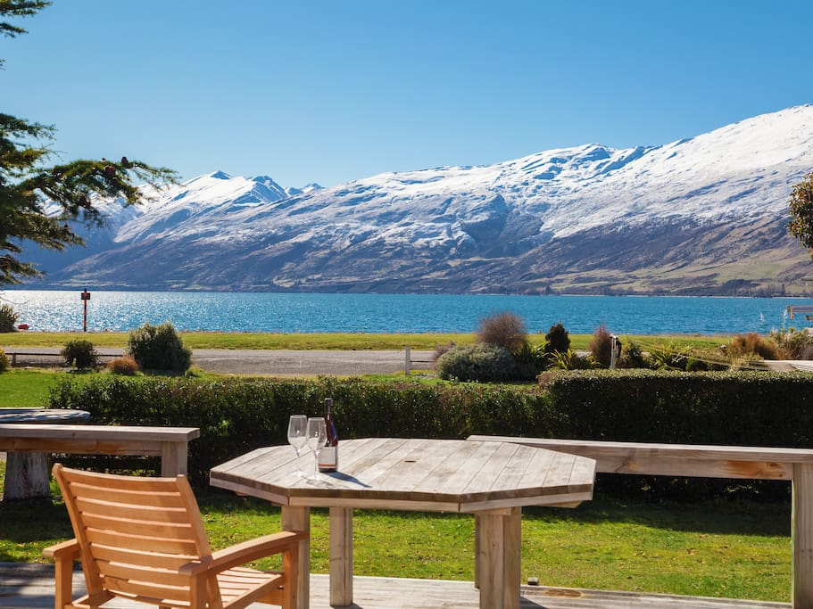 View from decking of Lake Wakatipu