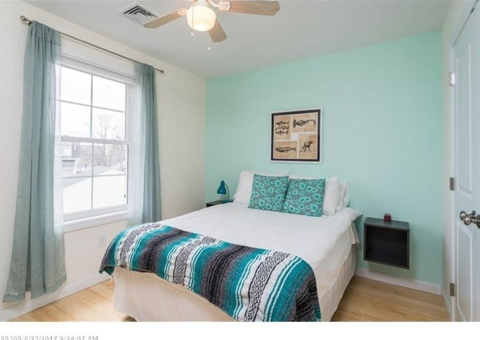Your room has a full size memory foam bed and closet.
