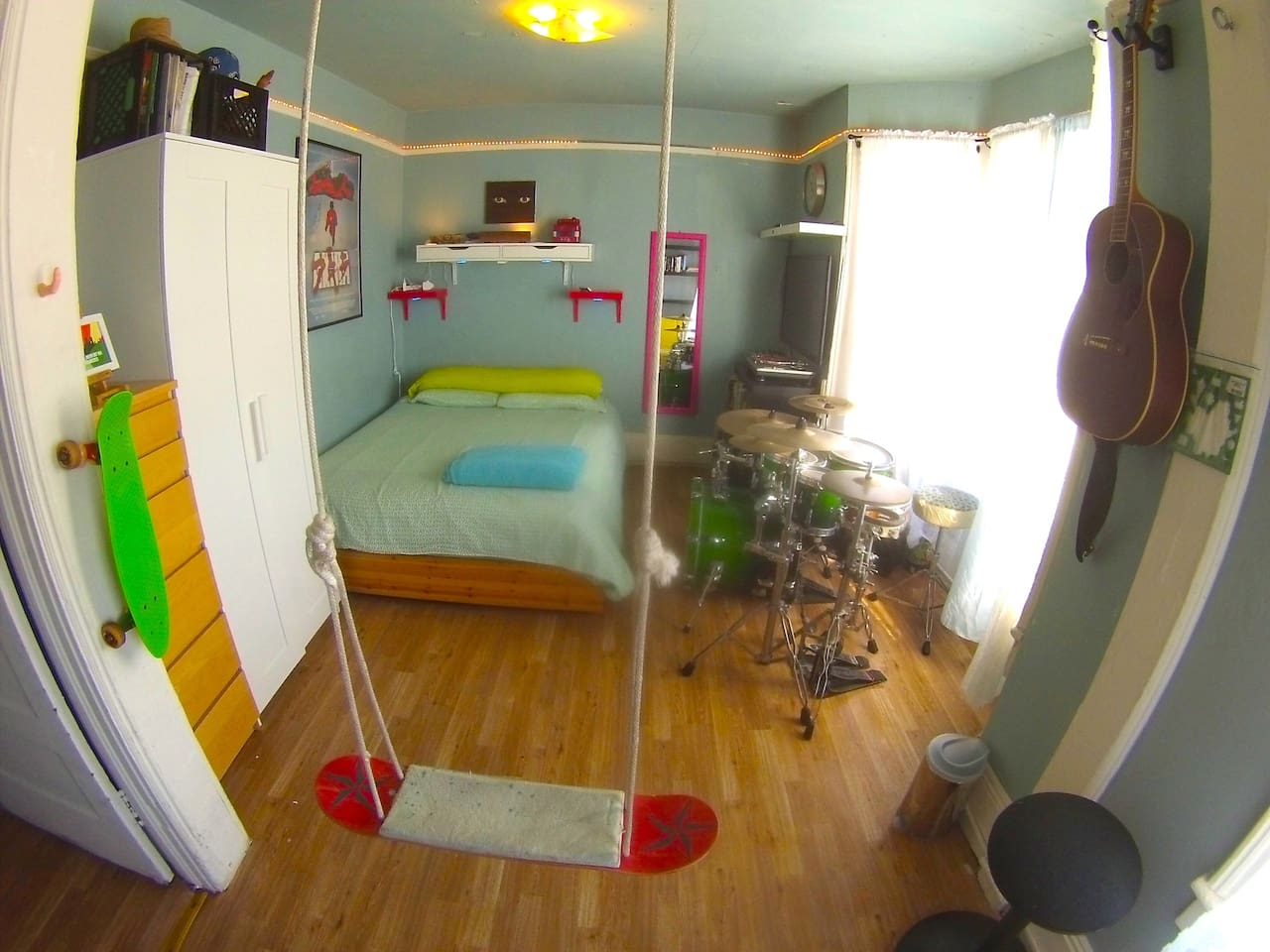 Double Bed, some storage, swing and Drum kit