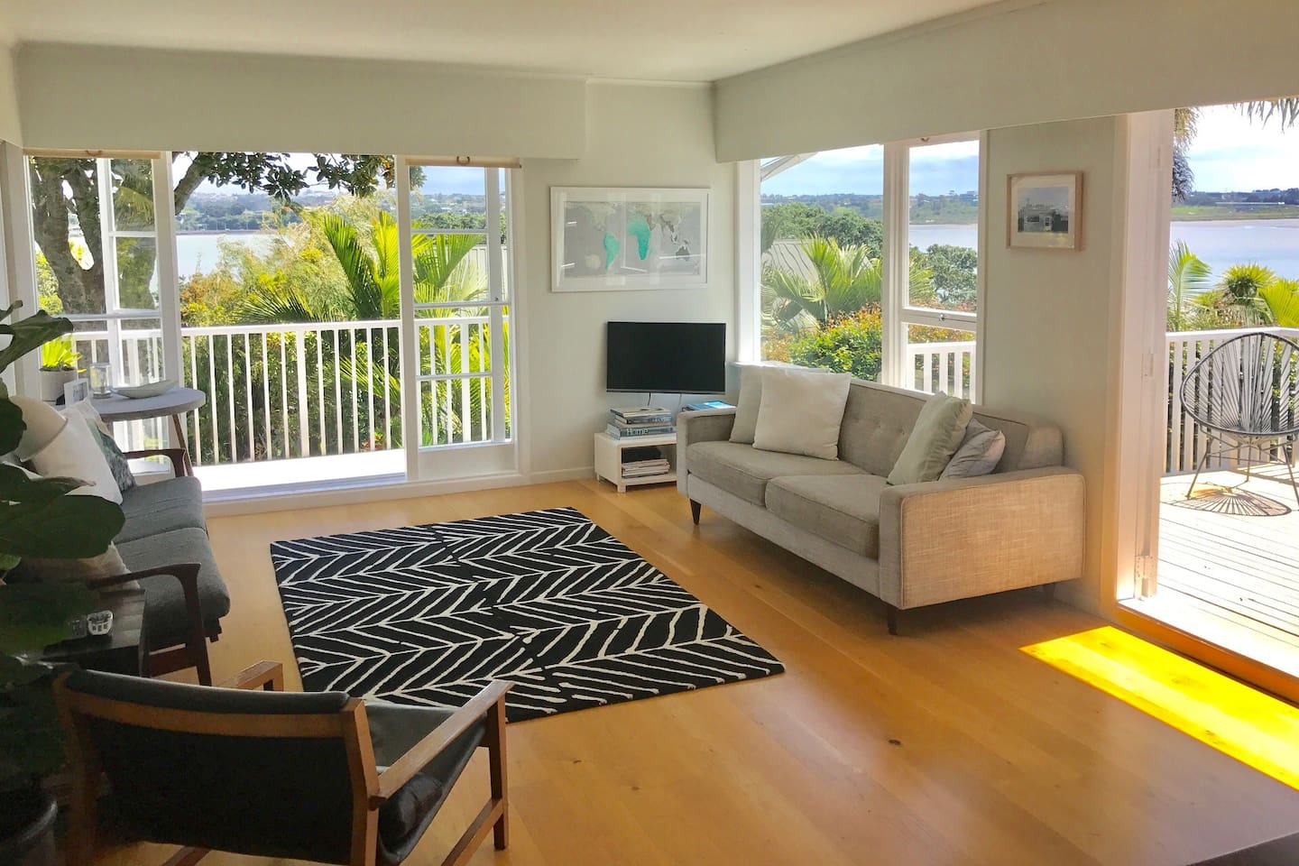 Living room looking out to Auckland harbour