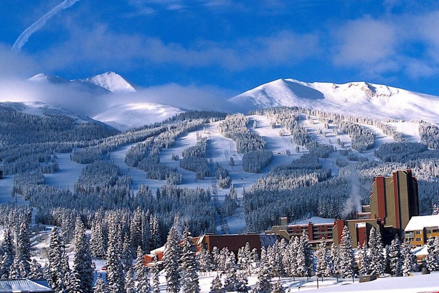 Snow-capped Breckenridge Mountain makes for an impressive view.