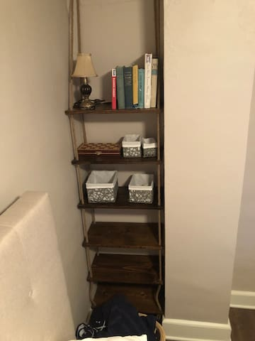 Shelving with storage for toiletries etc.